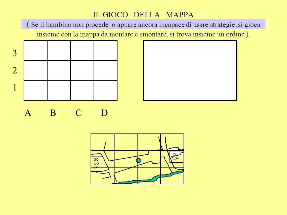 IL GIOCO DELLA MAPPA ( Se il bambino non procede o appare ancora incapace di usare strategie,si gioca insieme con la mappa da montare e smontare, si trova insieme un ordine ).