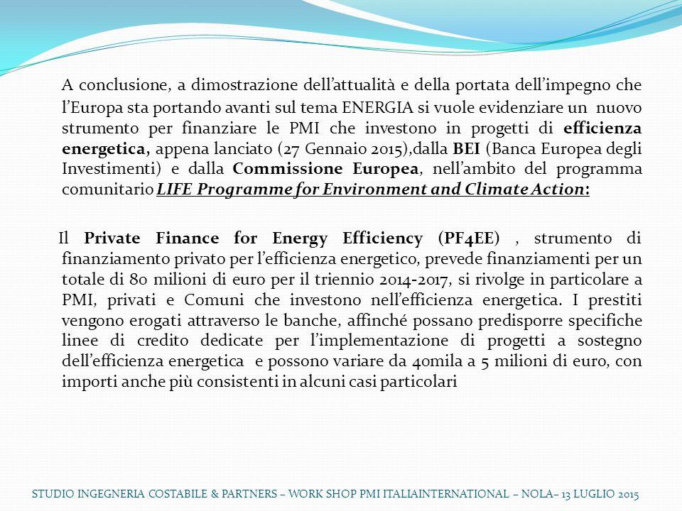 A conclusione, a dimostrazione dell'attualità e della portata dell'impegno che l'Europa sta portando avanti sul tema ENERGIA si vuole evidenziare un nuovo strumento per finanziare le PMI che investono in progetti di efficienza energetica, appena lanciato (27 Gennaio 2015),dalla BEI (Banca Europea degli Investimenti) e dalla Commissione Europea, nell'ambito del programma comunitario LIFE Programme for Environment and Climate Action: Il Private Finance for Energy Efficiency (PF4EE), strumento di finanziamento privato per l'efficienza energetico, prevede finanziamenti per un totale di 80 milioni di euro per il triennio 2014-2017, si rivolge in particolare a PMI, privati e Comuni che investono nell'efficienza energetica.