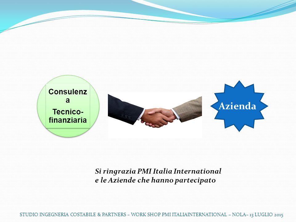 Consulenz a Tecnico- finanziaria Consulenz a Tecnico- finanziaria Si ringrazia PMI Italia International e le Aziende che hanno partecipato Azienda