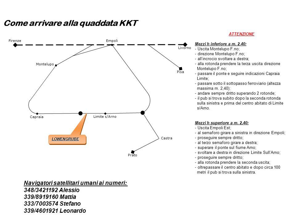 Come arrivare alla quaddata KKT Livorno Firenze Limite s/Arno Montelupo Capraia Pisa Prato Castra Empoli LOWENGRUBELOWENGRUBE ATTENZIONE Mezzi h inferiore a m.