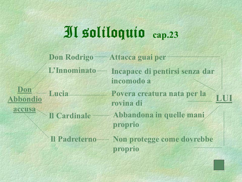 Il soliloquio cap.23 Don RodrigoAttacca guai per L'Innominato Incapace di pentirsi senza dar incomodo a LuciaPovera creatura nata per la rovina di Il