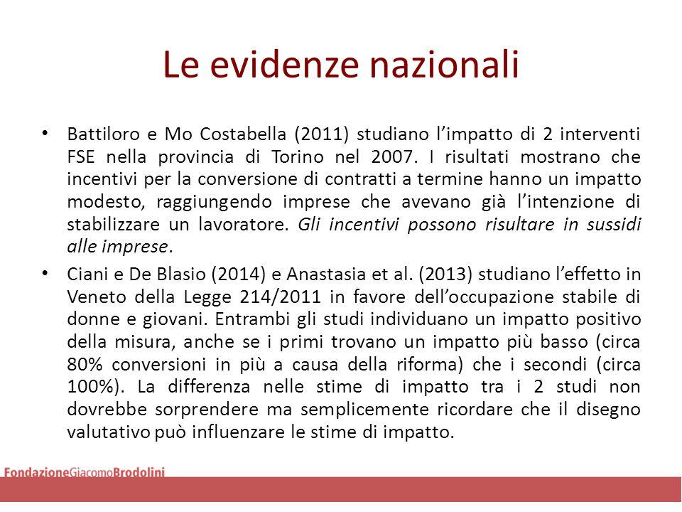 Le evidenze nazionali Battiloro e Mo Costabella (2011) studiano l'impatto di 2 interventi FSE nella provincia di Torino nel 2007. I risultati mostrano
