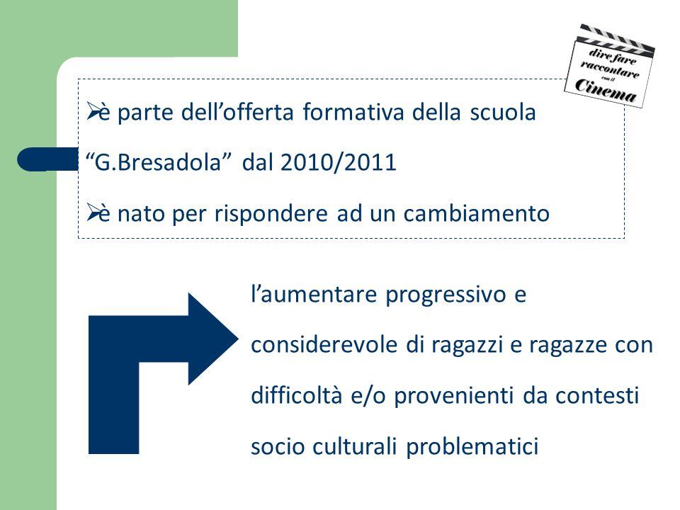  è parte dell'offerta formativa della scuola G.Bresadola dal 2010/2011  è nato per rispondere ad un cambiamento l'aumentare progressivo e considerevole di ragazzi e ragazze con difficoltà e/o provenienti da contesti socio culturali problematici