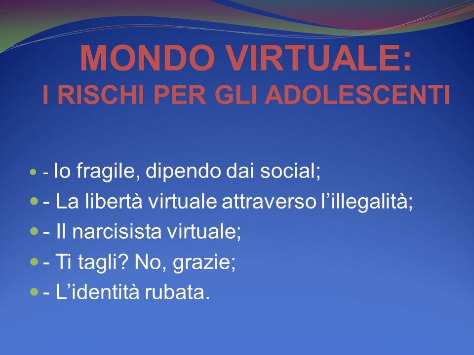 MONDO VIRTUALE: I RISCHI PER GLI ADOLESCENTI - Io fragile, dipendo dai social; - La libertà virtuale attraverso l'illegalità; - Il narcisista virtuale; - Ti tagli.