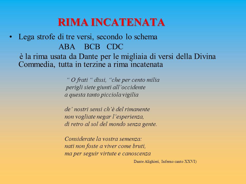 RIMA INCATENATA Lega strofe di tre versi, secondo lo schema ABA BCB CDC è la rima usata da Dante per le migliaia di versi della Divina Commedia, tutta