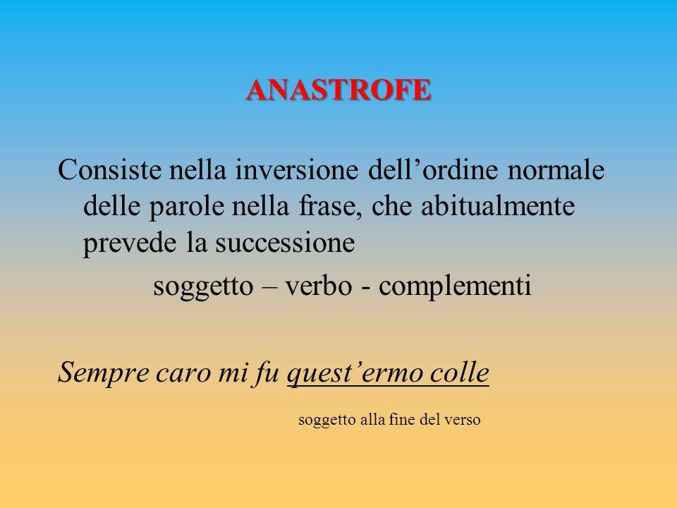 ANASTROFE Consiste nella inversione dell'ordine normale delle parole nella frase, che abitualmente prevede la successione soggetto – verbo - complemen