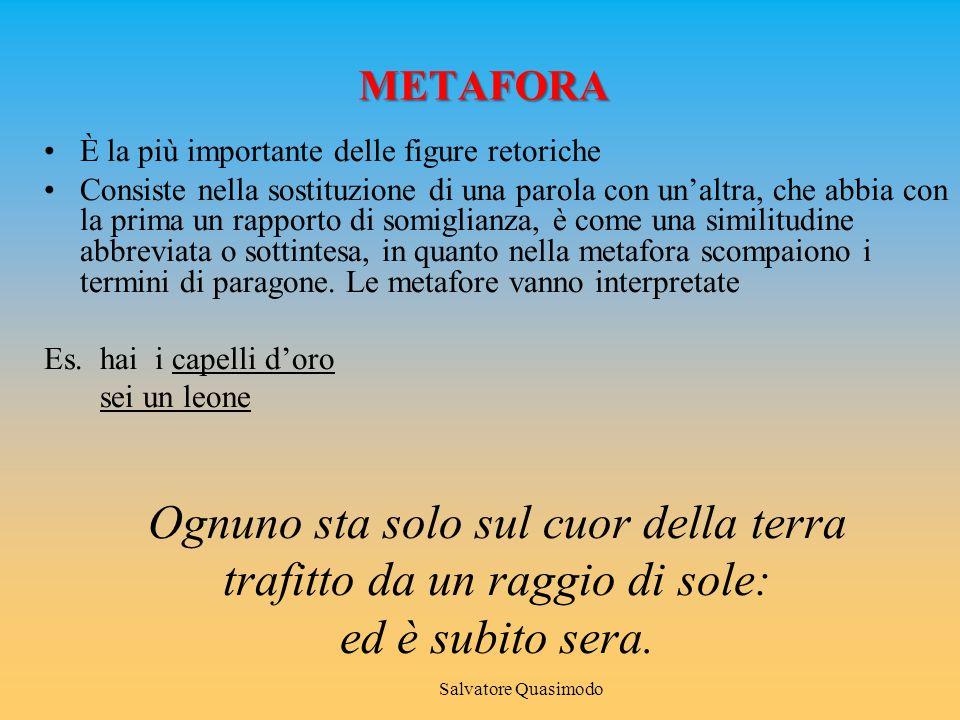 METAFORA È la più importante delle figure retoriche Consiste nella sostituzione di una parola con un'altra, che abbia con la prima un rapporto di somiglianza, è come una similitudine abbreviata o sottintesa, in quanto nella metafora scompaiono i termini di paragone.