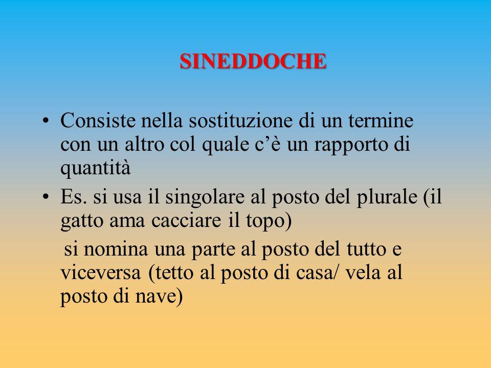 SINEDDOCHE Consiste nella sostituzione di un termine con un altro col quale c'è un rapporto di quantità Es.