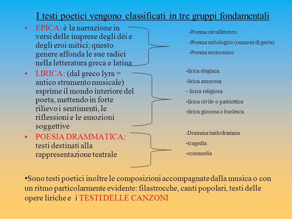I testi poetici vengono classificati in tre gruppi fondamentali EPICA: è la narrazione in versi delle imprese degli dèi e degli eroi mitici; questo ge
