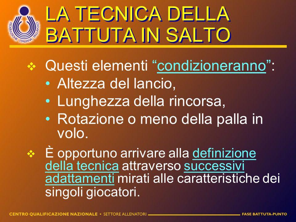"""LA TECNICA DELLA BATTUTA IN SALTO QQuesti elementi """"condizioneranno"""": Altezza del lancio, Lunghezza della rincorsa, Rotazione o meno della palla in"""