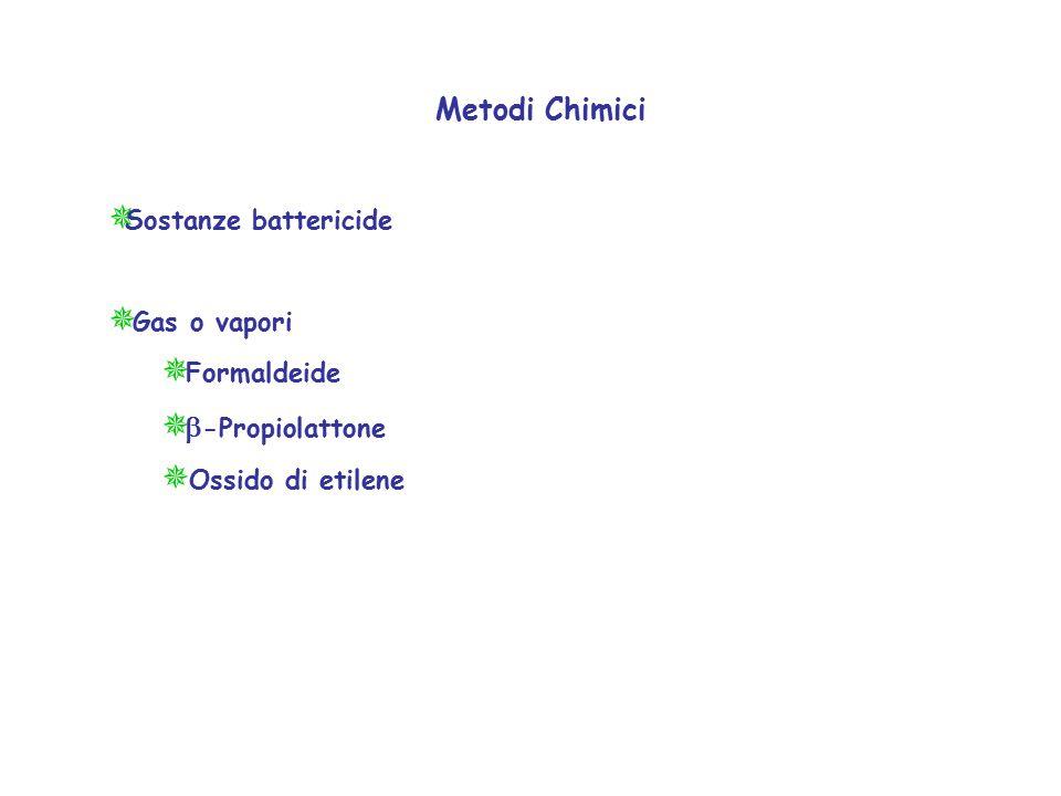 Metodi Chimici  Sostanze battericide  Gas o vapori  Formaldeide    -Propiolattone  Ossido di etilene