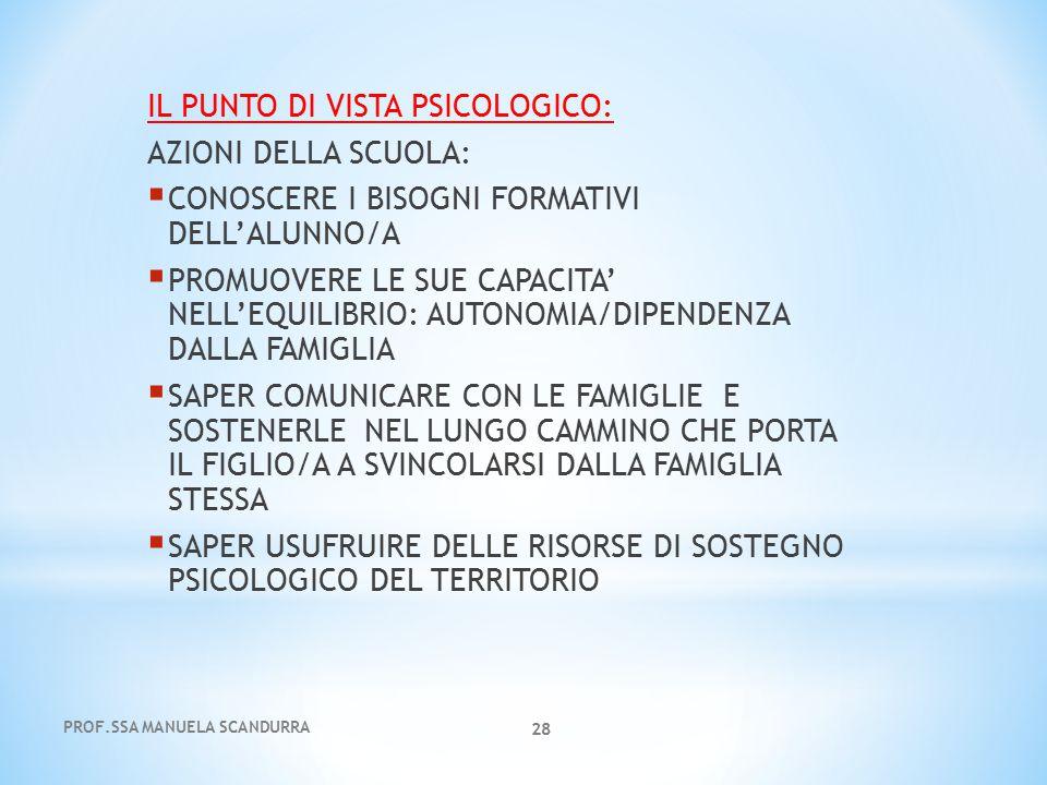 PROF.SSA MANUELA SCANDURRA 28 IL PUNTO DI VISTA PSICOLOGICO: AZIONI DELLA SCUOLA:  CONOSCERE I BISOGNI FORMATIVI DELL'ALUNNO/A  PROMUOVERE LE SUE CA