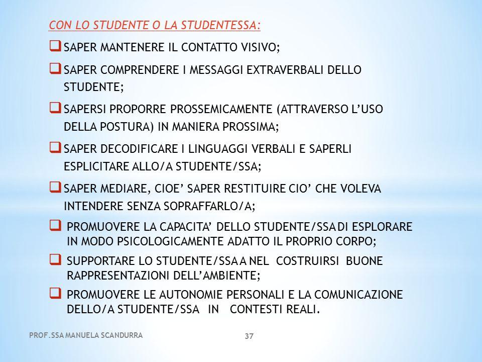 CON LO STUDENTE O LA STUDENTESSA:  SAPER MANTENERE IL CONTATTO VISIVO;  SAPER COMPRENDERE I MESSAGGI EXTRAVERBALI DELLO STUDENTE;  SAPERSI PROPORRE