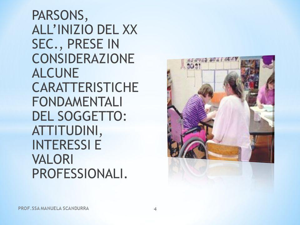 PARSONS, ALL'INIZIO DEL XX SEC., PRESE IN CONSIDERAZIONE ALCUNE CARATTERISTICHE FONDAMENTALI DEL SOGGETTO: ATTITUDINI, INTERESSI E VALORI PROFESSIONAL