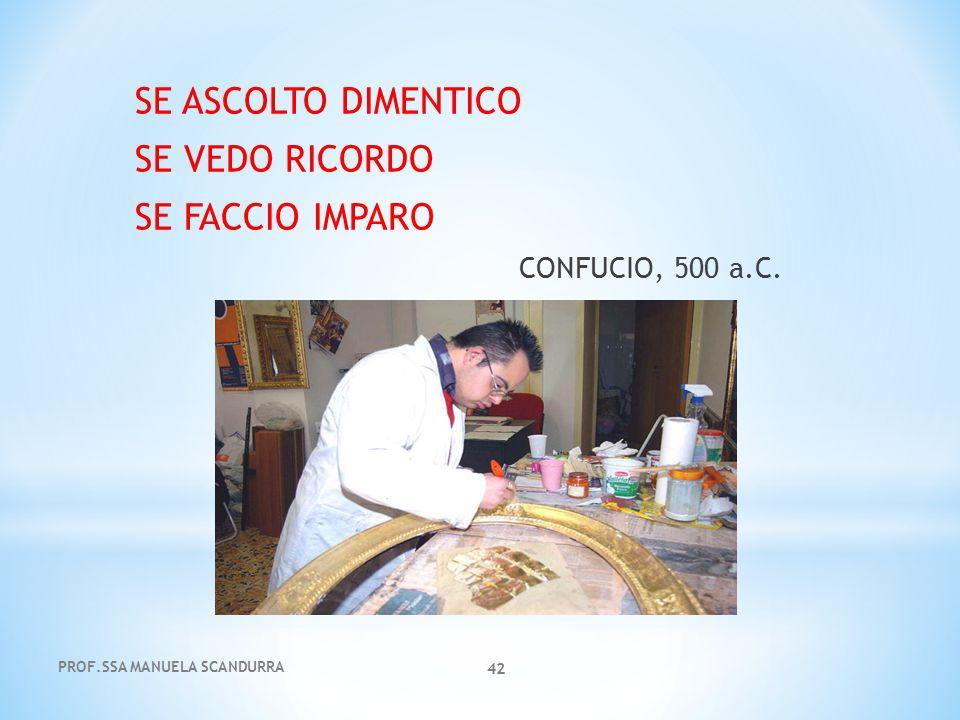 PROF.SSA MANUELA SCANDURRA 42 SE ASCOLTO DIMENTICO SE VEDO RICORDO SE FACCIO IMPARO CONFUCIO, 500 a.C.