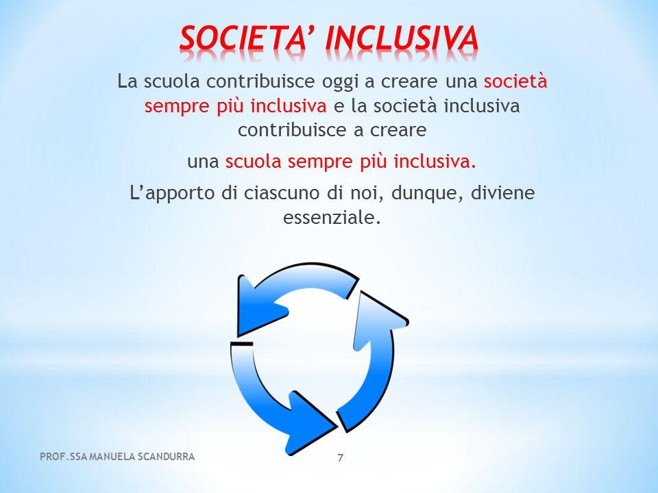 7 La scuola contribuisce oggi a creare una società sempre più inclusiva e la società inclusiva contribuisce a creare una scuola sempre più inclusiva.