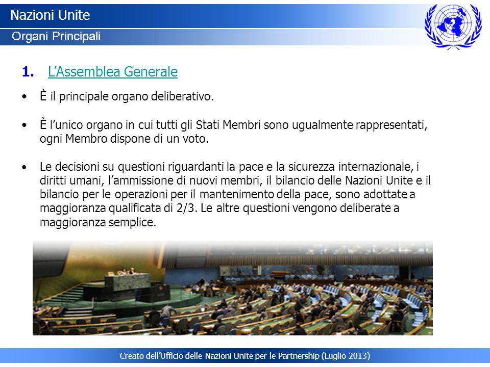 Creato dell'Ufficio delle Nazioni Unite per le Partnership (Luglio 2013) Nazioni Unite Organi Principali È il principale organo deliberativo. È l'unic