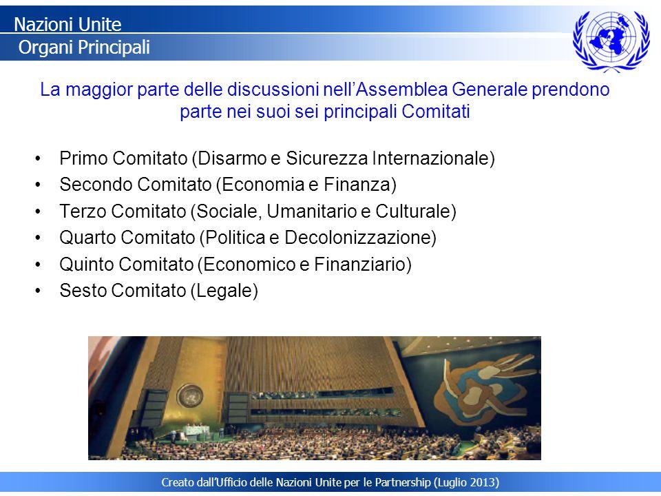 La maggior parte delle discussioni nell'Assemblea Generale prendono parte nei suoi sei principali Comitati Nazioni Unite Organi Principali Primo Comit