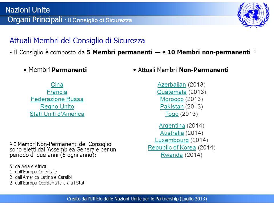 Creato dall'Ufficio delle Nazioni Unite per le Partnership (Luglio 2013) Attuali Membri del Consiglio di Sicurezza - Il Consiglio è composto da 5 Memb