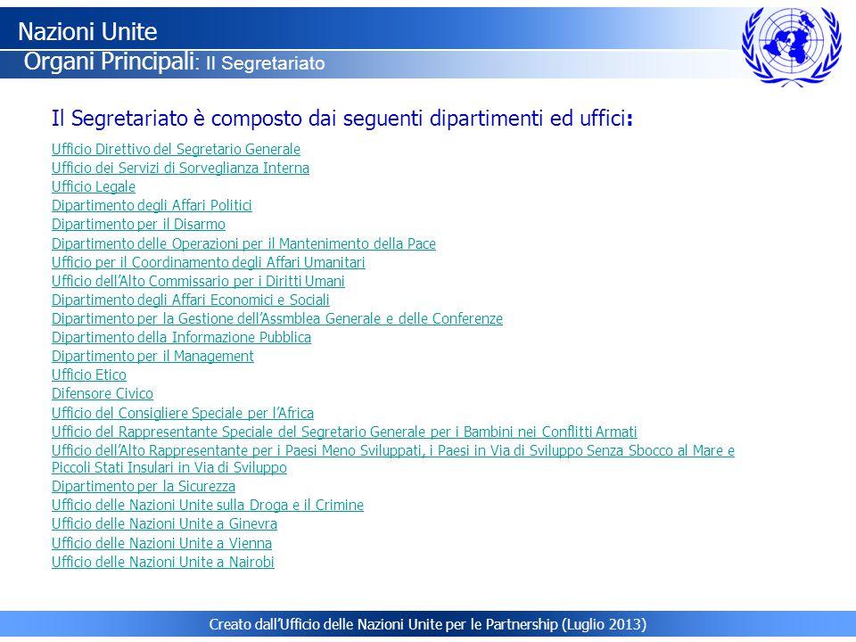 Creato dall'Ufficio delle Nazioni Unite per le Partnership (Luglio 2013) Ufficio Direttivo del Segretario Generale Ufficio dei Servizi di Sorveglianza Interna Ufficio Legale Dipartimento degli Affari Politici Dipartimento per il Disarmo Dipartimento delle Operazioni per il Mantenimento della Pace Ufficio per il Coordinamento degli Affari Umanitari Ufficio dell'Alto Commissario per i Diritti Umani Dipartimento degli Affari Economici e Sociali Dipartimento per la Gestione dell'Assmblea Generale e delle Conferenze Dipartimento della Informazione Pubblica Dipartimento per il Management Ufficio Etico Difensore Civico Ufficio del Consigliere Speciale per l'Africa Ufficio del Rappresentante Speciale del Segretario Generale per i Bambini nei Conflitti Armati Ufficio dell'Alto Rappresentante per i Paesi Meno Sviluppati, i Paesi in Via di Sviluppo Senza Sbocco al Mare e Piccoli Stati Insulari in Via di Sviluppo Dipartimento per la Sicurezza Ufficio delle Nazioni Unite sulla Droga e il Crimine Ufficio delle Nazioni Unite a Ginevra Ufficio delle Nazioni Unite a Vienna Ufficio delle Nazioni Unite a Nairobi Il Segretariato è composto dai seguenti dipartimenti ed uffici: Nazioni Unite Organi Principali : Il Segretariato
