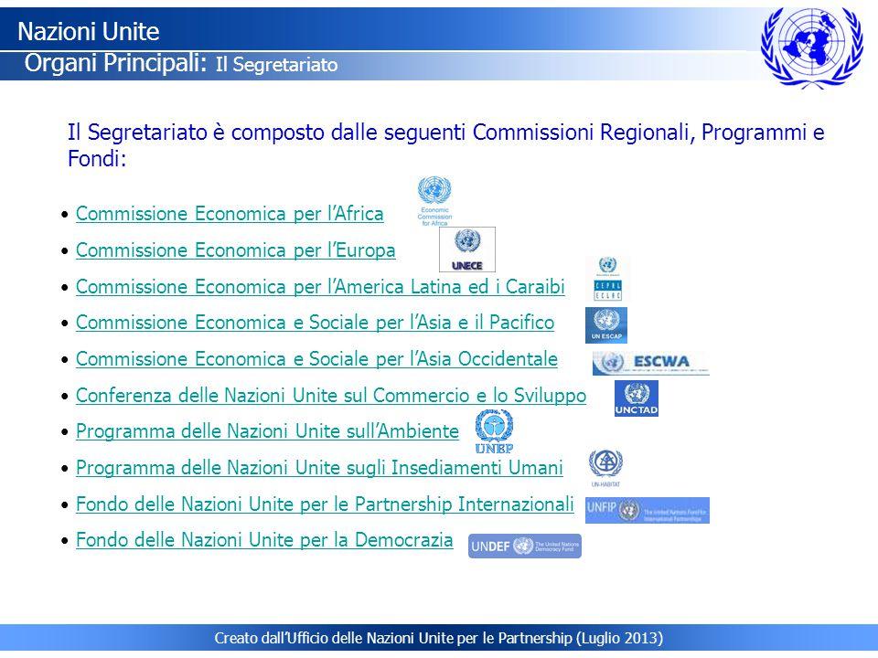 Creato dall'Ufficio delle Nazioni Unite per le Partnership (Luglio 2013) Commissione Economica per l'Africa Commissione Economica per l'Europa Commiss