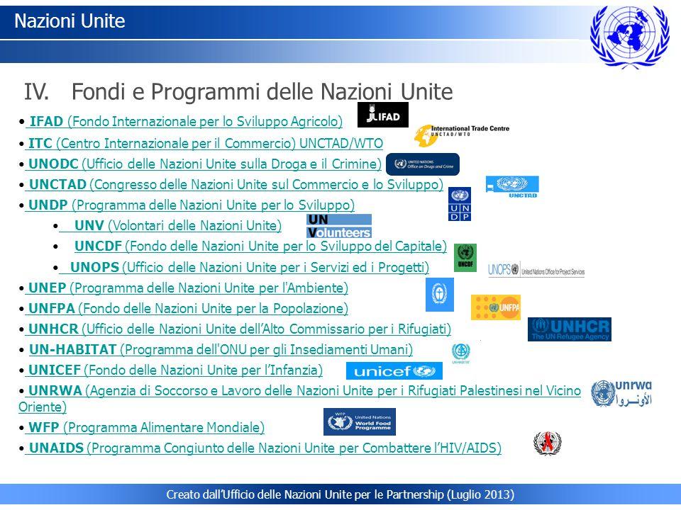 Nazioni Unite IFAD (Fondo Internazionale per lo Sviluppo Agricolo) IFAD (Fondo Internazionale per lo Sviluppo Agricolo) ITC (Centro Internazionale per il Commercio) UNCTAD/WTO ITC (Centro Internazionale per il Commercio) UNCTAD/WTO UNODC (Ufficio delle Nazioni Unite sulla Droga e il Crimine) UNODC (Ufficio delle Nazioni Unite sulla Droga e il Crimine) UNCTAD (Congresso delle Nazioni Unite sul Commercio e lo Sviluppo) UNCTAD (Congresso delle Nazioni Unite sul Commercio e lo Sviluppo) UNDP (Programma delle Nazioni Unite per lo Sviluppo) UNDP (Programma delle Nazioni Unite per lo Sviluppo) UNV (Volontari delle Nazioni Unite) UNV (Volontari delle Nazioni Unite) UNCDF (Fondo delle Nazioni Unite per lo Sviluppo del Capitale)UNCDF (Fondo delle Nazioni Unite per lo Sviluppo del Capitale) UNOPS (Ufficio delle Nazioni Unite per i Servizi ed i Progetti) UNOPS (Ufficio delle Nazioni Unite per i Servizi ed i Progetti) UNEP (Programma delle Nazioni Unite per l Ambiente) UNEP (Programma delle Nazioni Unite per l Ambiente) UNFPA (Fondo delle Nazioni Unite per la Popolazione) UNFPA (Fondo delle Nazioni Unite per la Popolazione) UNHCR (Ufficio delle Nazioni Unite dell'Alto Commissario per i Rifugiati) UNHCR (Ufficio delle Nazioni Unite dell'Alto Commissario per i Rifugiati) UN-HABITAT (Programma dell ONU per gli Insediamenti Umani)UN-HABITAT (Programma dell ONU per gli Insediamenti Umani) UNICEF (Fondo delle Nazioni Unite per l'Infanzia) UNICEF (Fondo delle Nazioni Unite per l'Infanzia) UNRWA (Agenzia di Soccorso e Lavoro delle Nazioni Unite per i Rifugiati Palestinesi nel Vicino Oriente) UNRWA (Agenzia di Soccorso e Lavoro delle Nazioni Unite per i Rifugiati Palestinesi nel Vicino Oriente) WFP (Programma Alimentare Mondiale) WFP (Programma Alimentare Mondiale) UNAIDS (Programma Congiunto delle Nazioni Unite per Combattere l'HIV/AIDS) UNAIDS (Programma Congiunto delle Nazioni Unite per Combattere l'HIV/AIDS) IV.