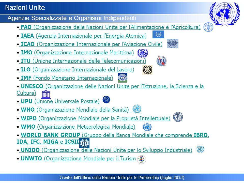 Creato dall'Ufficio delle Nazioni Unite per le Partnership (Luglio 2013) Nazioni Unite Agenzie Specializzate e Organismi Indipendenti FAO (Organizzazione delle Nazioni Unite per l'Alimentazione e l'Agricoltura) FAO (Organizzazione delle Nazioni Unite per l'Alimentazione e l'Agricoltura) IAEA (Agenzia Internazionale per l'Energia Atomica) IAEA (Agenzia Internazionale per l'Energia Atomica) ICAO (Organizzazione Internazionale per l'Aviazione Civile) ICAO (Organizzazione Internazionale per l'Aviazione Civile) IMO (Organizzazione Internazionale Marittima) IMO (Organizzazione Internazionale Marittima) ITU (Unione Internazionale delle Telecomunicazioni) ITU (Unione Internazionale delle Telecomunicazioni) ILO (Organizzazione Internazionale del Lavoro) ILO (Organizzazione Internazionale del Lavoro) IMF (Fondo Monetario Internazionale) IMF (Fondo Monetario Internazionale) UNESCO (Organizzazione delle Nazioni Unite per l'Istruzione, la Scienza e la Cultura) UNESCO (Organizzazione delle Nazioni Unite per l'Istruzione, la Scienza e la Cultura) UPU (Unione Universale Postale) UPU (Unione Universale Postale) WHO (Organizzazione Mondiale della Sanità) WHO (Organizzazione Mondiale della Sanità) WIPO (Organizzazione Mondiale per la Proprietà Intellettuale) WIPO (Organizzazione Mondiale per la Proprietà Intellettuale) WMO (Organizzazione Meteorologica Mondiale) WMO (Organizzazione Meteorologica Mondiale) WORLD BANK GROUP (Gruppo della Banca Mondiale che comprende IBRD, IDA, IFC, MIGA e ICSID)WORLD BANK GROUP (Gruppo della Banca Mondiale che comprende IBRD, IDA, IFC, MIGA e ICSID) UNIDO (Organizzazione delle Nazioni Unite per lo Sviluppo Industriale) UNIDO (Organizzazione delle Nazioni Unite per lo Sviluppo Industriale) UNWTO (Organizzazione Mondiale per il Turismo) UNWTO (Organizzazione Mondiale per il Turismo)