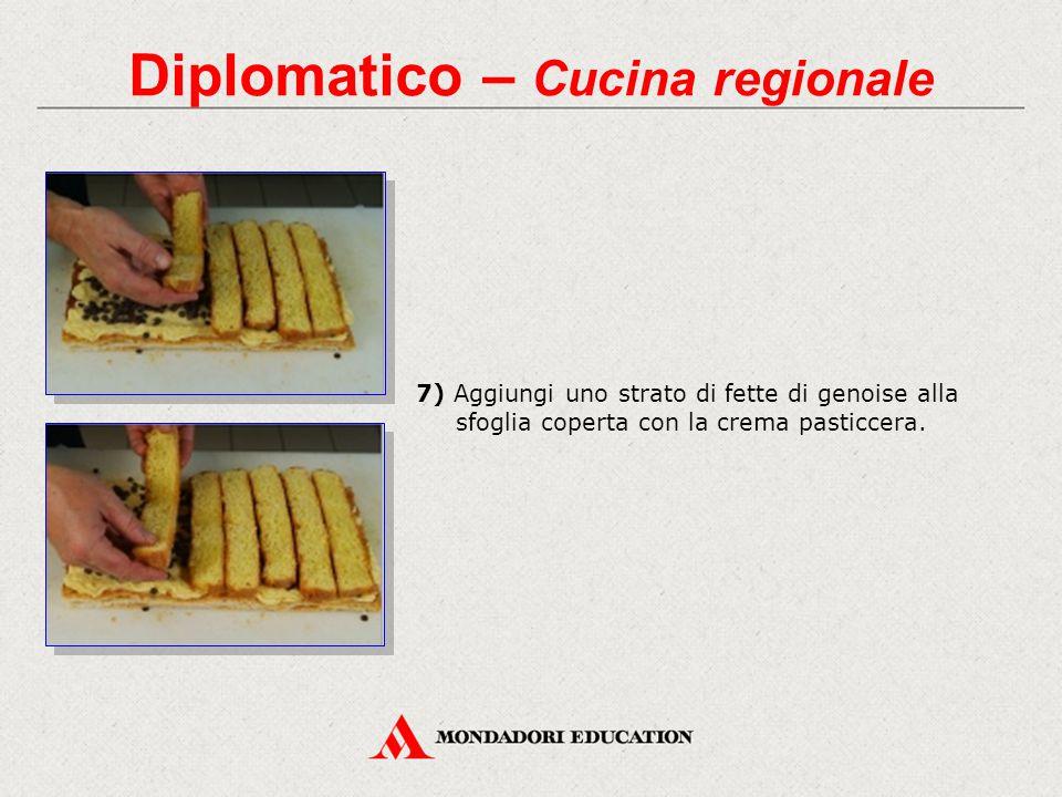 Diplomatico – Cucina regionale 7) Aggiungi uno strato di fette di genoise alla sfoglia coperta con la crema pasticcera.