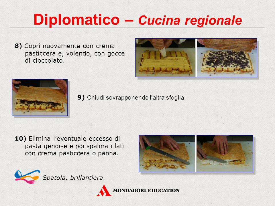 Diplomatico – Cucina regionale 8) Copri nuovamente con crema pasticcera e, volendo, con gocce di cioccolato. 9) Chiudi sovrapponendo l'altra sfoglia.