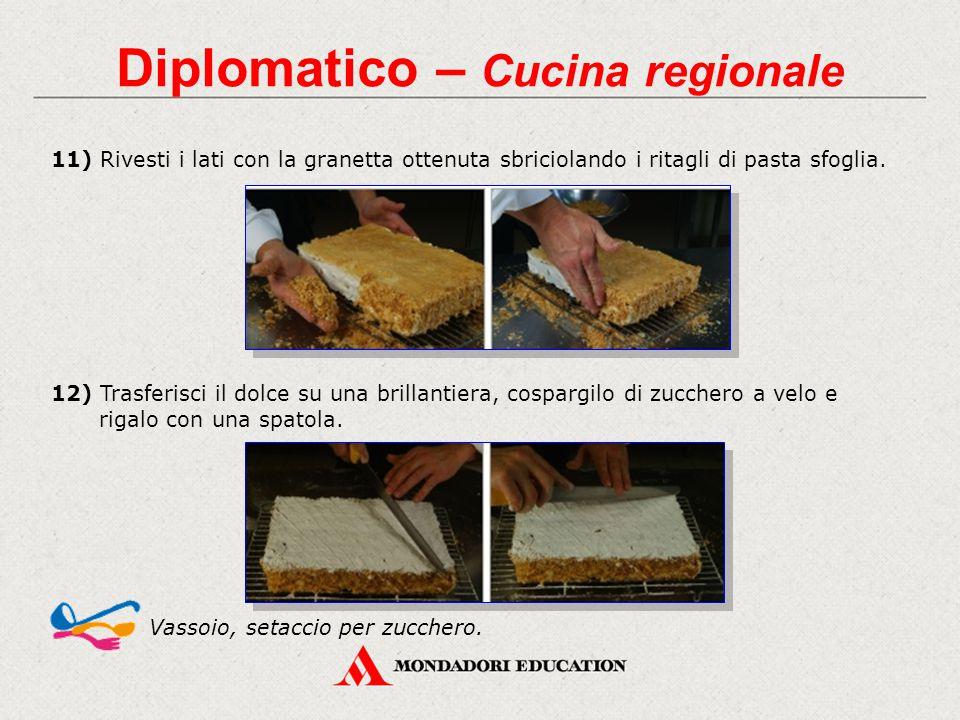 Diplomatico – Cucina regionale 11) Rivesti i lati con la granetta ottenuta sbriciolando i ritagli di pasta sfoglia. Vassoio, setaccio per zucchero. 12