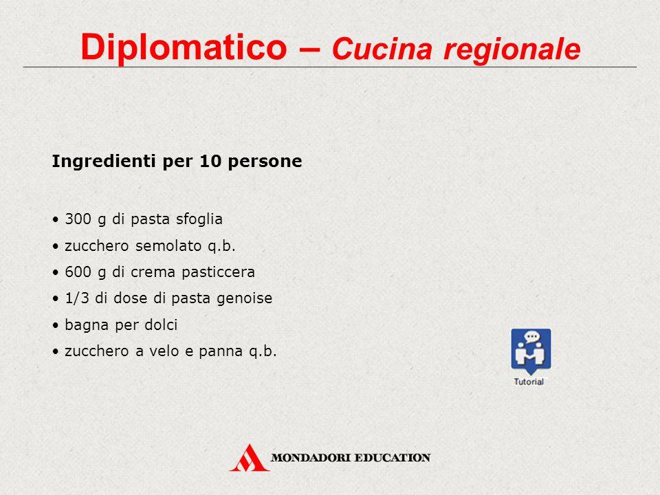 Diplomatico – Cucina regionale Ingredienti per 10 persone 300 g di pasta sfoglia zucchero semolato q.b. 600 g di crema pasticcera 1/3 di dose di pasta