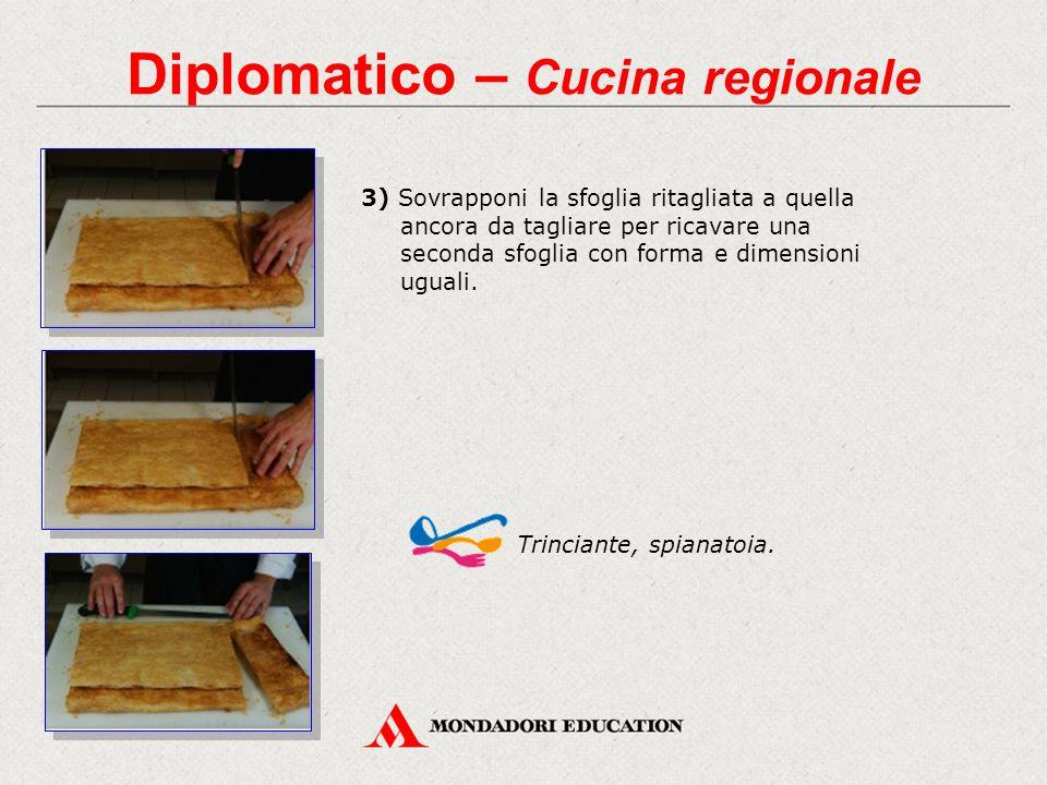 Diplomatico – Cucina regionale 3) Sovrapponi la sfoglia ritagliata a quella ancora da tagliare per ricavare una seconda sfoglia con forma e dimensioni