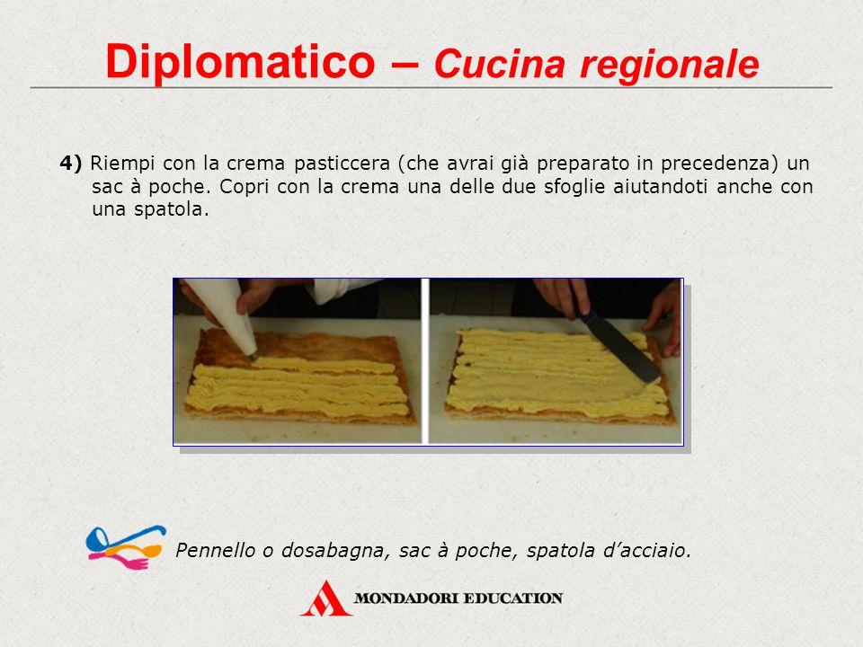 Diplomatico – Cucina regionale 4) Riempi con la crema pasticcera (che avrai già preparato in precedenza) un sac à poche. Copri con la crema una delle
