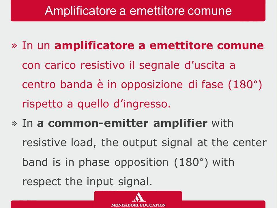 »In un amplificatore a emettitore comune con carico resistivo il segnale d'uscita a centro banda è in opposizione di fase (180°) rispetto a quello d'i