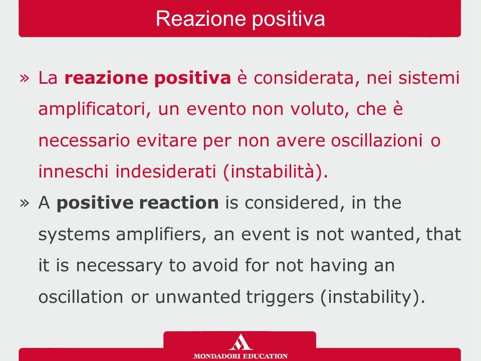 »La reazione positiva è considerata, nei sistemi amplificatori, un evento non voluto, che è necessario evitare per non avere oscillazioni o inneschi i