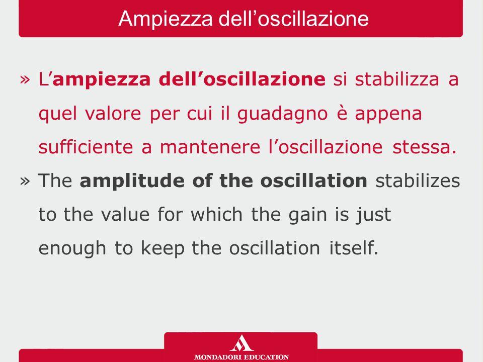 »L'ampiezza dell'oscillazione si stabilizza a quel valore per cui il guadagno è appena sufficiente a mantenere l'oscillazione stessa. »The amplitude o