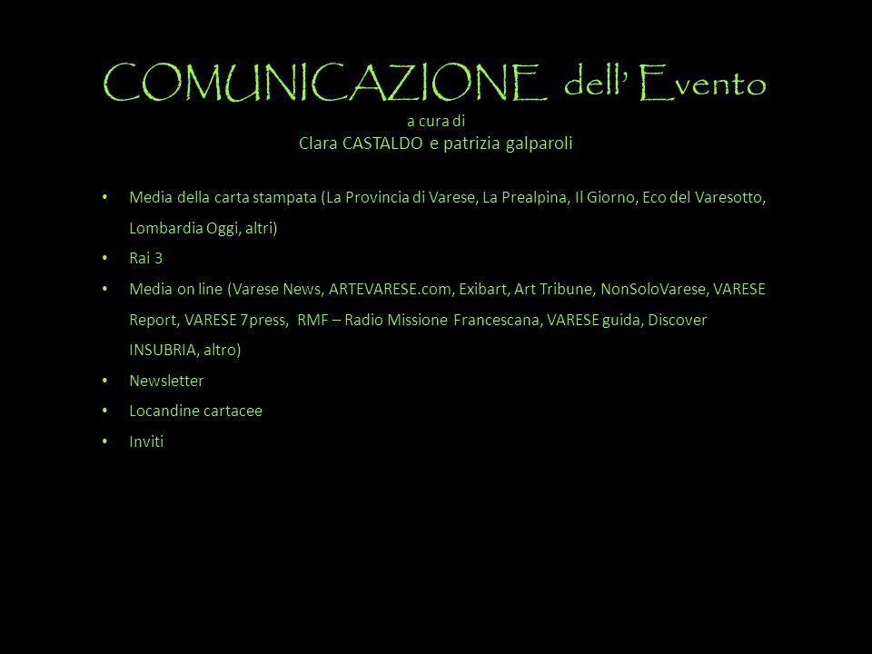 COMUNICAZIONE dell' Evento a cura di Clara CASTALDO e patrizia galparoli Media della carta stampata (La Provincia di Varese, La Prealpina, Il Giorno,