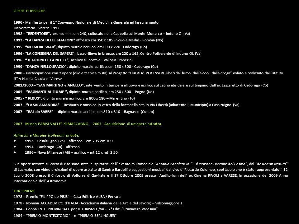OPERE PUBBLICHE 1990 - Manifesto per il 1° Convegno Nazionale di Medicina Generale ed Insegnamento Universitario - Varese 1992 1992 – REDENTORE , bronzo – h.