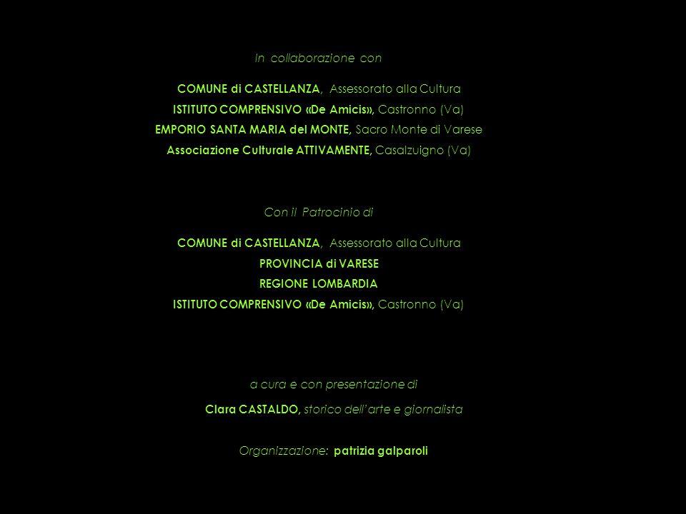 In collaborazione con COMUNE di CASTELLANZA, Assessorato alla Cultura ISTITUTO COMPRENSIVO «De Amicis», Castronno (Va) EMPORIO SANTA MARIA del MONTE, Sacro Monte di Varese Associazione Culturale ATTIVAMENTE, Casalzuigno (Va) Con il Patrocinio di COMUNE di CASTELLANZA, Assessorato alla Cultura PROVINCIA di VARESE REGIONE LOMBARDIA ISTITUTO COMPRENSIVO «De Amicis», Castronno (Va) a cura e con presentazione di Clara CASTALDO, storico dell'arte e giornalista Organizzazione: patrizia galparoli