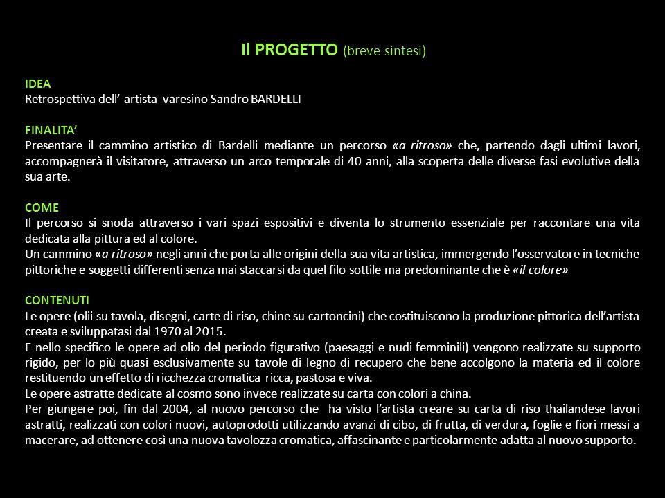 Il PROGETTO (breve sintesi) IDEA Retrospettiva dell' artista varesino Sandro BARDELLI FINALITA' Presentare il cammino artistico di Bardelli mediante u
