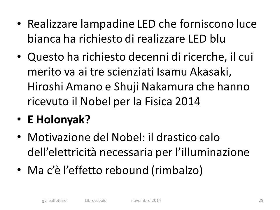 Realizzare lampadine LED che forniscono luce bianca ha richiesto di realizzare LED blu Questo ha richiesto decenni di ricerche, il cui merito va ai tre scienziati Isamu Akasaki, Hiroshi Amano e Shuji Nakamura che hanno ricevuto il Nobel per la Fisica 2014 E Holonyak.