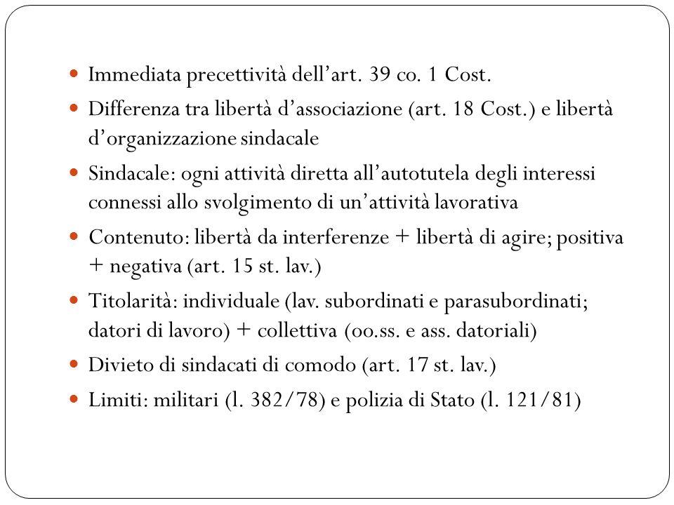 Immediata precettività dell'art. 39 co. 1 Cost. Differenza tra libertà d'associazione (art.