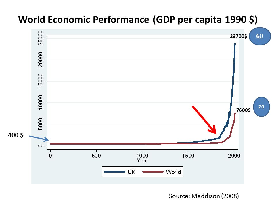World Economic Performance (GDP per capita 1990 $) Source: Maddison (2008) 400 $ 7600$ 23700$ 20 60
