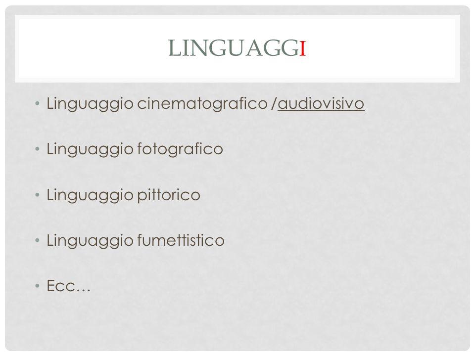 LINGUAGG I Linguaggio cinematografico /audiovisivo Linguaggio fotografico Linguaggio pittorico Linguaggio fumettistico Ecc…