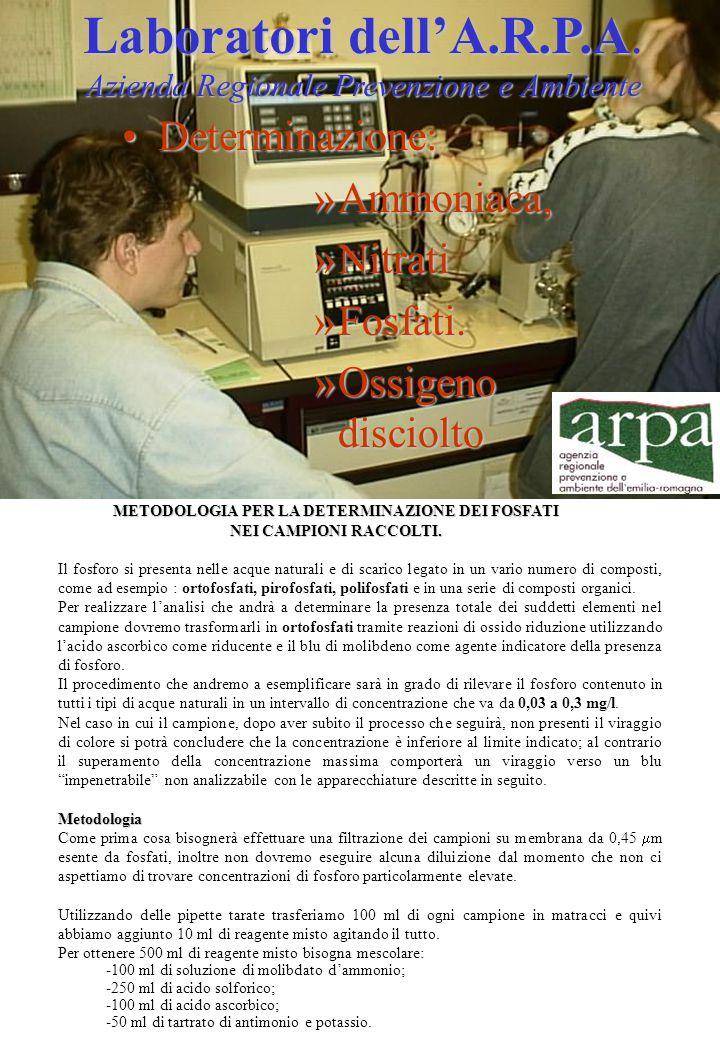 Laboratori dell'A.R.P.A Azienda Regionale Prevenzione e Ambiente Laboratori dell'A.R.P.A.