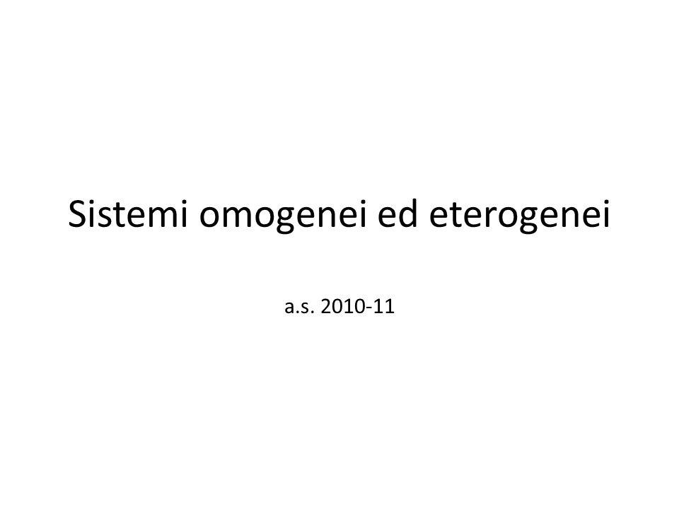Sistemi omogenei e sistemi eterogenei Un sistema è una porzione delimitata di materia