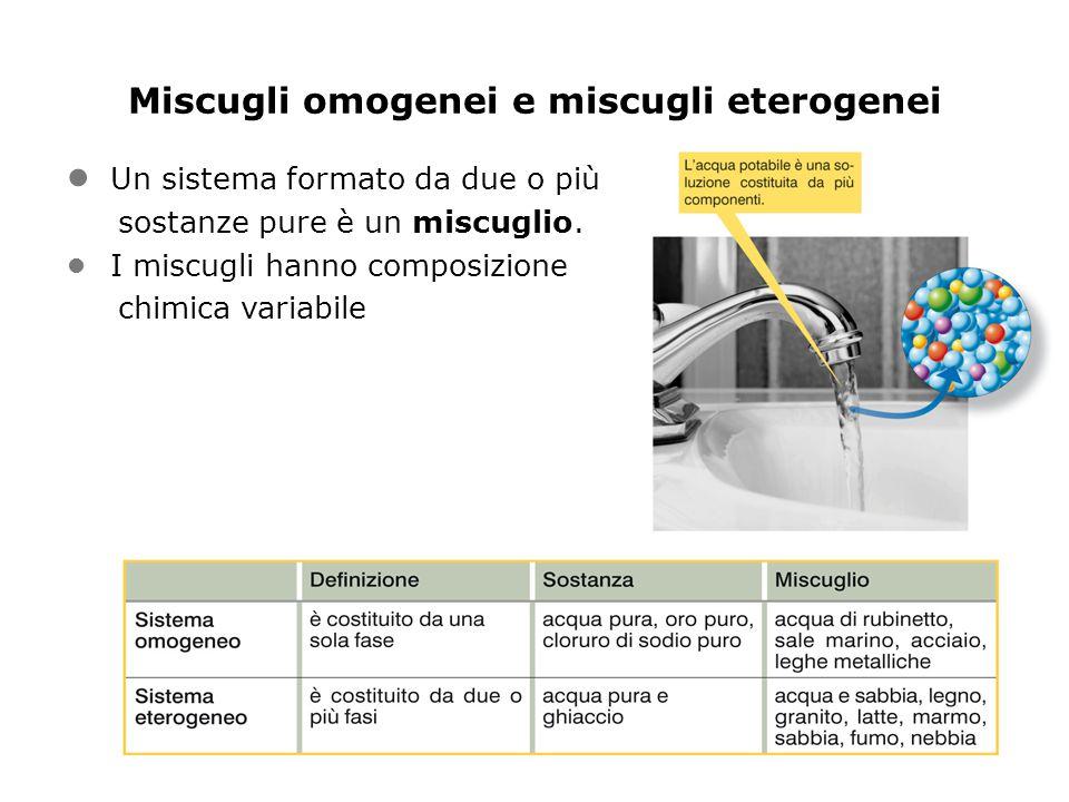 Miscugli omogenei e miscugli eterogenei Un sistema formato da due o più sostanze pure è un miscuglio.