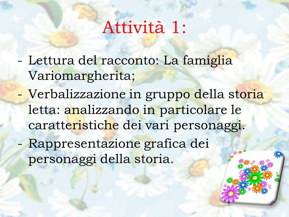 Attività 1: -Lettura del racconto: La famiglia Variomargherita; -Verbalizzazione in gruppo della storia letta: analizzando in particolare le caratteristiche dei vari personaggi.