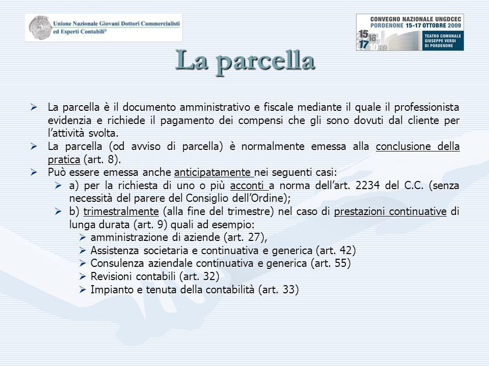 La parcella  La parcella è il documento amministrativo e fiscale mediante il quale il professionista evidenzia e richiede il pagamento dei compensi che gli sono dovuti dal cliente per l'attività svolta.