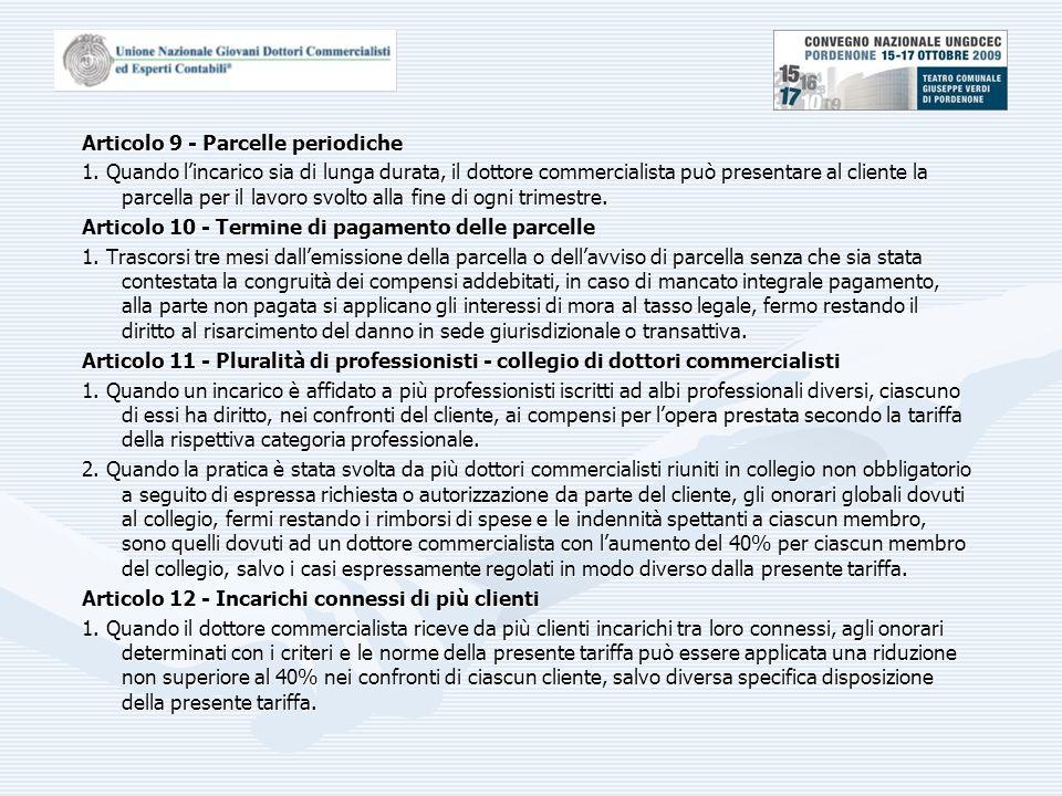 Articolo 9 - Parcelle periodiche 1.